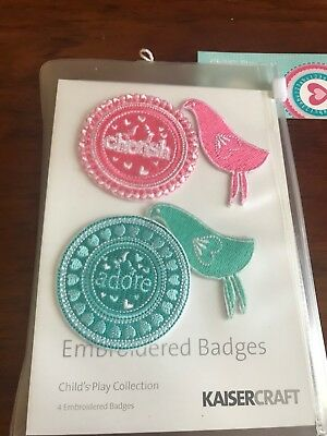 Kaisercraft Child's Play Collection Embroidered Badges - Brand New