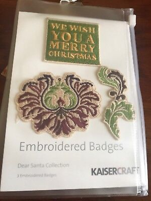 Kaisercraft Dear Santa Collection Embroidered Badges - Brand New
