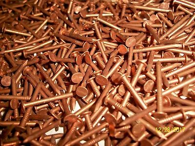 "200+ VINTAGE, COPPER-BRONZE NAILS, 1"" LONG x 1/16""  MARINE-BOAT-WOODWORKING +"