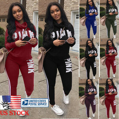 2Pcs Women Letter Tracksuit Hoodies Sweatshirt Pants Sets Sport Wear Casual Suit