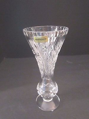 "vintage imperial lead cut crystal bud vase. made in poland. 8"" tall. Brilliant"