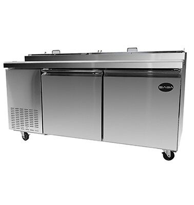 """New 71"""" Refrigerated Pizza Prep Table 2 Doors 9 Pans 14"""" Deep Board & Casters"""