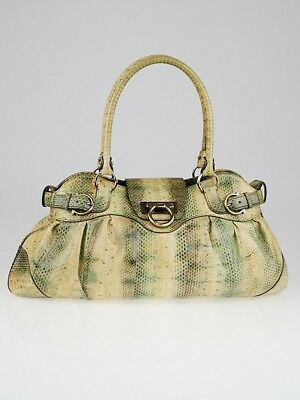 SALVATORE FERRAGAMO GREEN YELLOW Snakeskin Marisa Shoulder Bag ... b9844eaf0c