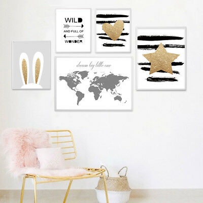 Heart Wold Map Rabbit Ear Canvas Poster Nursery Art Print Baby Room Decoration