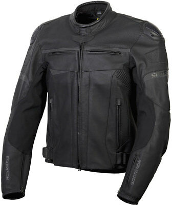 Scorpion Men's RAVIN Leather Motorcycle Sport Riding Jacket (Black) Choose Size