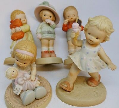 Mabel Lucie Atwell Memories of Yesterday 5 Kids Bisque Figurines Vintage ENESCO