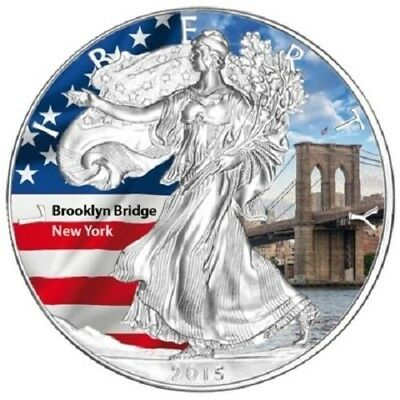 1 oz Silver coin - 2015 American Eagle - Coloured - USA Brooklyn Bridge