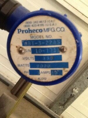 Proheco Titanium Immersion Heater 9000 watts 480volts 10amps 3ph