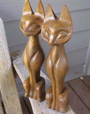 "Two 14.5"" Vintage Mid Century Modern Siamese Cats Wood Sculpture Teak? RUSTIC"