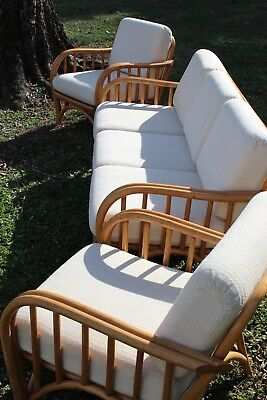 Vintage Clark Casual Mid Century Bamboo Rattan Sofa & Two Chairs