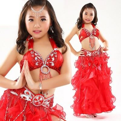 Kid's Professional Belly Dance Costumes Performance Stage Outfits Dancewear #823