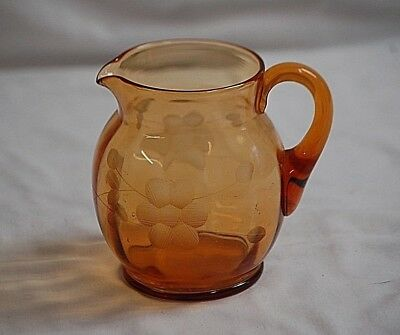Old Vintage 1930's Cambridge Amber Depression Glass Pitcher Jug w Etched Flowers