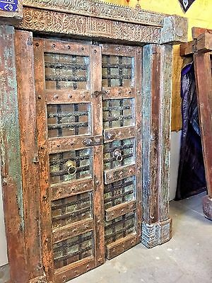 ANTIQUE INDIA HAVELI DOOR VINTAGE TEAK CARVED YOGA  ARCHITECTURE rustic luxe 18C
