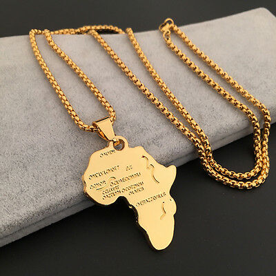 Mens Charm Metal African Africa Map Pendant Necklace Alloy Chain Gold Color LRK