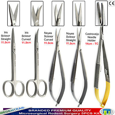 Dissection Micro-Surgical Kit Gum Tissue Cutting Noyes Scissors Needle Holder X5