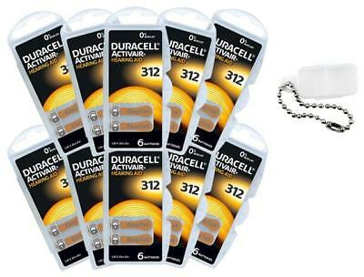 Duracell Piles Auditives Taille 312 Pack de 60 + Porte Piles OFFERT