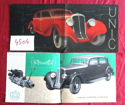 N°4504 / catalogue luxe automobile UNIC chassis 4 et 6 cylindres 1936-1938