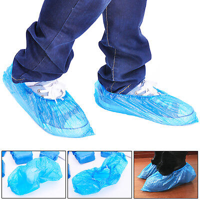 200 x DISPOSABLE OVERSHOES, WATERPROOF SHOE COVERS PROTECTORS BLUE