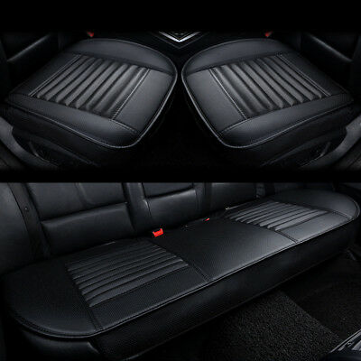 3PCS Full Set Car Front & Rear Back Seat PU Leather 3D Cover Cushion Breathable