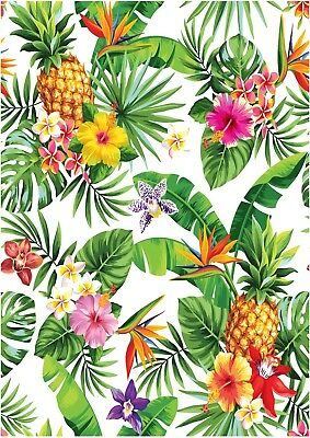 Tropical Flower Pineapple Wallpaper A4 Sized Edible Wafer Paper / Icing Sheet