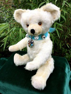 Antique / Vintage Knickerbocker 17inch White Mohair Teddy Bear 1940's