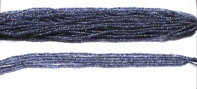 Natural Iolite Gemstone Rondelle Micro Faceted Beads 1 Strand 13''Inch 3MM S7