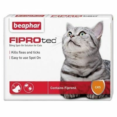 Beaphar FIPROtec Cat Flea Spot On Fipronil Vet Strength 6 Treatment Solution