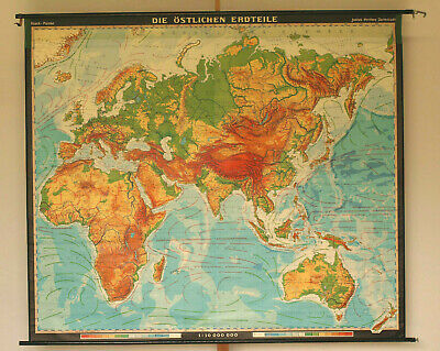 School wall map Asia Afrika Europe Old World+AU Eastern Hemiphere 222x190cm 1969