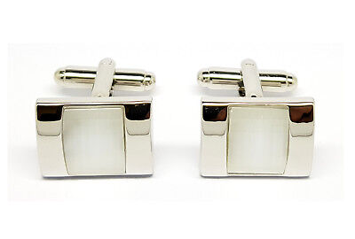 Silver Steel Rectangle White Stone Cufflink Mens Wedding Groom Business Office