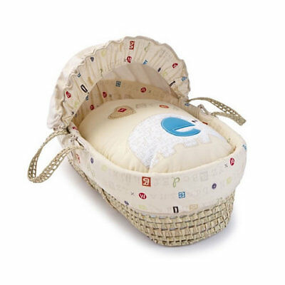Brand new Clair de lune abc palm moses basket in multi coloured