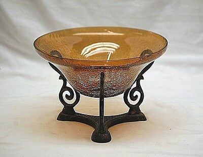 Old Vintage Blown Amber Crackle Art Glass Bowl w Metal Stand Home Decor