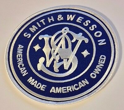 Smith and Wesson Firearm Patch 4 inch  Blue and White