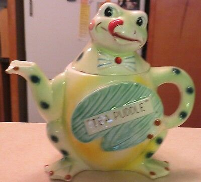 SUPER RARE Anthropomorphic Enesco Frog Japan Hopper Tea Puddle Teapot MINT FS