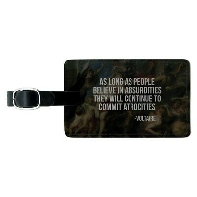 Absurdities and Atrocities Voltaire Rectangle Leather Luggage Card ID Tag