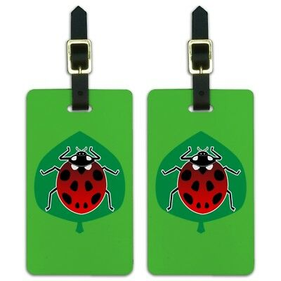 Red Ladybug on Green Leaf Ladybird Luggage ID Tags Carry-On Cards - Set of 2