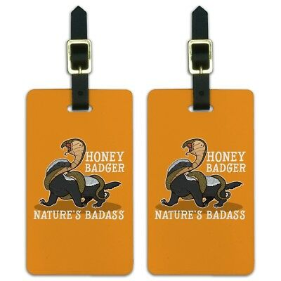 Honey Badger Nature's Badass Luggage ID Tags Suitcase Carry-On Cards - Set of 2