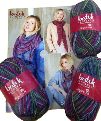 Stylecraft 9409 Batik Scarf Knitting Pattern and Wool