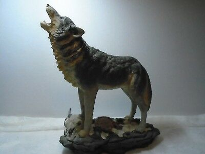 Wolf Wildlife Figurine Home Decor Wolf and Native American Styled Resin