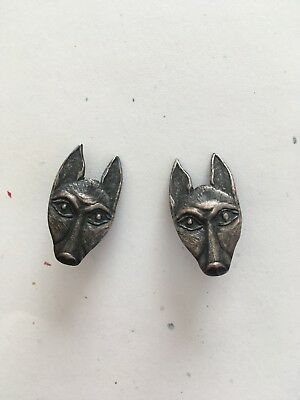 Pair Anubis Jackal Wolf Lapel Pins Brooches Earrings Bronze Metal Animal Heads