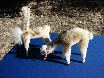 VTG Large ALPACA REAL FUR Pair Toy Figurine Stuffed ANIMALS Llama Genuine PERU
