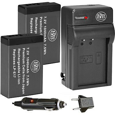 2X LP-E17 Replacement Battery and AC/DC Charger for Canon M5 T6i T6s T7i 77D