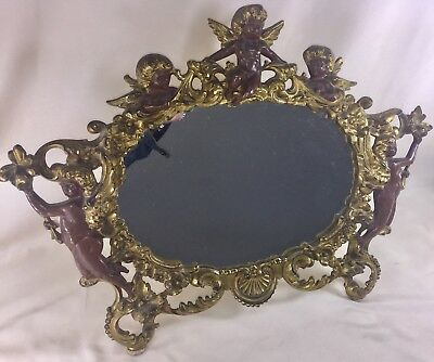 "Antique Art Nouveau Cast Iron Picture Frame Guilded Victorian Cherubs 18"" x 13"""