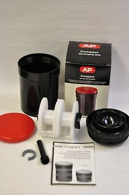 AP Compact film developing tank with 2 adjustable 35mm to 120 reels as shown.NOS