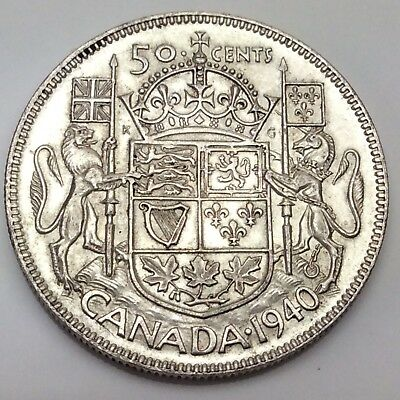 1940 Canada Fifty 50 Cents 800 Silver Circulated Canadian Coin D264