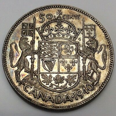 1940 Canada Fifty 50 Cents 800 Silver Circulated Canadian Coin D270