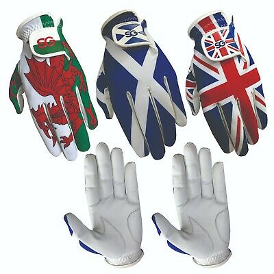 Pack of 5 Men golf gloves Cabretta leather palm Wales Scotland Union Jack Flag
