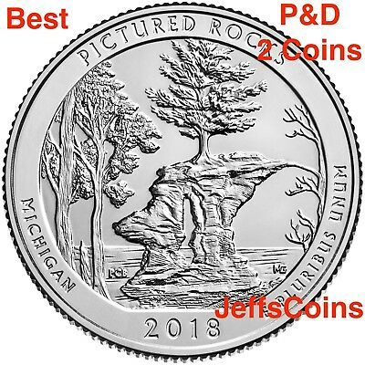 2018 P&D Pictured Rocks National Lakeshore Quarter MI U.S.Low Cost $1.58 PD ATB