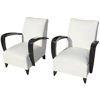 Elegant Pair of French Art Deco Armchairs or Club Chairs Attributed to Rene Prou