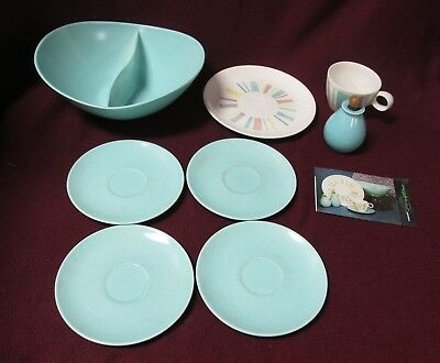 """Lot Of 8 Pieces Plus Booklet - Vernon Ware """"anytime"""" - Double Vegetable Dish"""