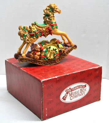 "NEW-The San Francisco Music Box Co. ""TOYLAND"" Musical Christmas Rocking Horse"